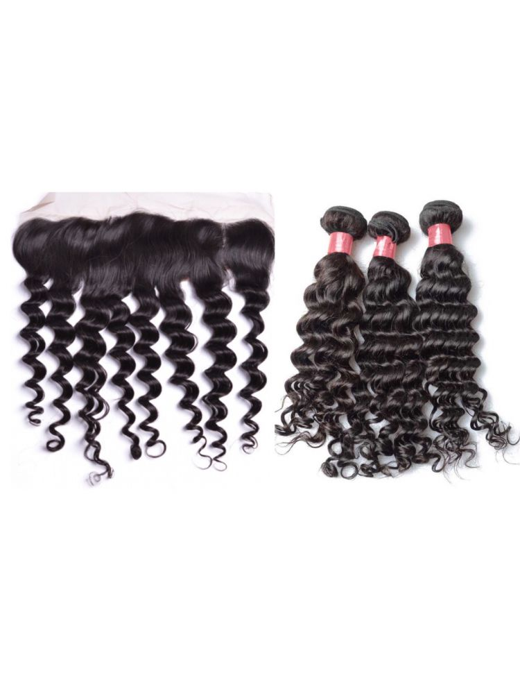 Virgin Brazilian Curly Hair 3 Bundles & Lace Frontal Package