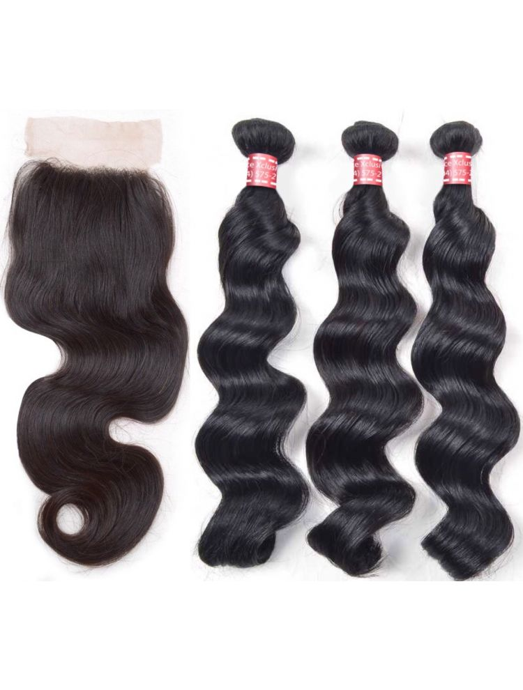 Virgin Indian Natural Wave Bundle & Closure Package