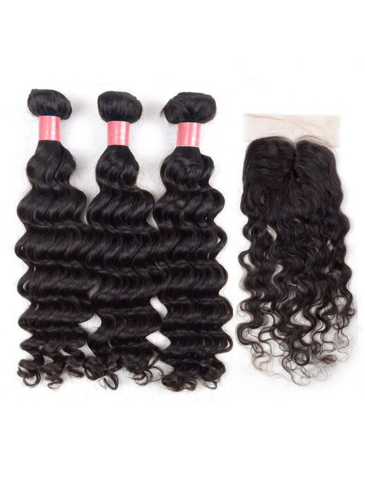 Virgin Indian Natural Curly Bundle & Closure Package