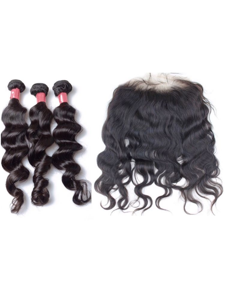 Virgin Brazilian Wavy Hair 3 Bundles & Lace Frontal Package