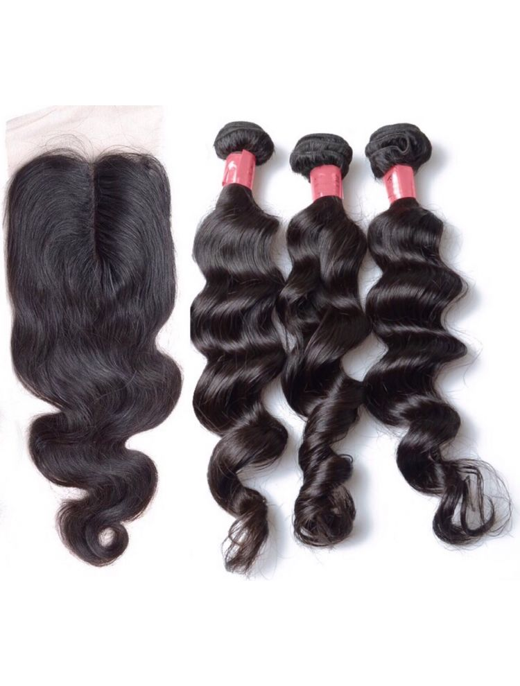 Virgin Brazilian Natural Wave Bundle & Closure Package